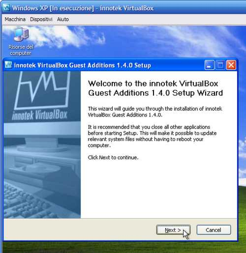 VirtualBox - Guest Additions - Windows XP: wizard d'installazione