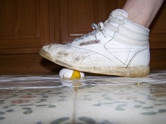 Reebok Crushing Egg (Sneaker fan) Tags: food shoe freestyle crushing messy sneaker wam reebok