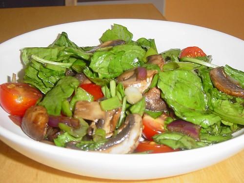 Warm Spinach, Mushroom Salad