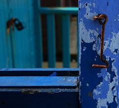 Hooked on Blue (NowJustNic) Tags: wood uk greatbritain blue england beach catchycolors kent nikon rust paint unitedkingdom bokeh cobweb beachhut hook hernebay d80 nikkor18135mm