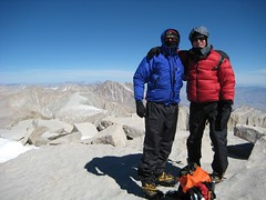 David and Time on top of Mt Whitney with Mt Russell behind (thomas pix) Tags: ca hiking whitney summit mtwhitney