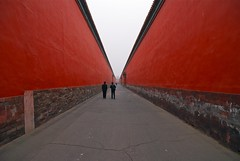 The long red road (Roy Cheung Photography) Tags: china road city red horizontal wall walking outdoors togetherness vanishingpoint day image sale fulllength beijing cities palace images forbidden getty   rearview onthemove peking gettyimages   gettyimage    casualclothing colorimage  aplusphoto colourartaward