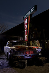 Traveler's Motel (Lost America) Tags: lightpainting sign night neon mercury motel 1957 junkyard nocturnes thebigm