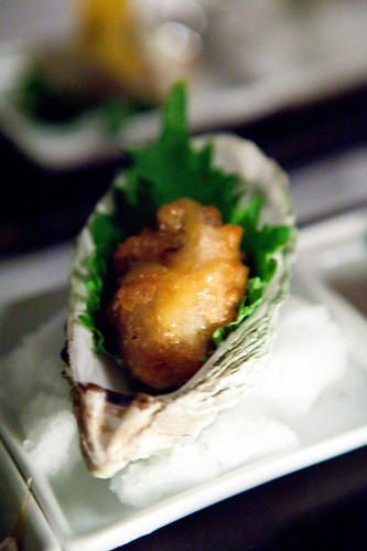 Fried Hama-Hama oyster with shiso, sansho pepper, and wasabi-yuzu dipping sauce