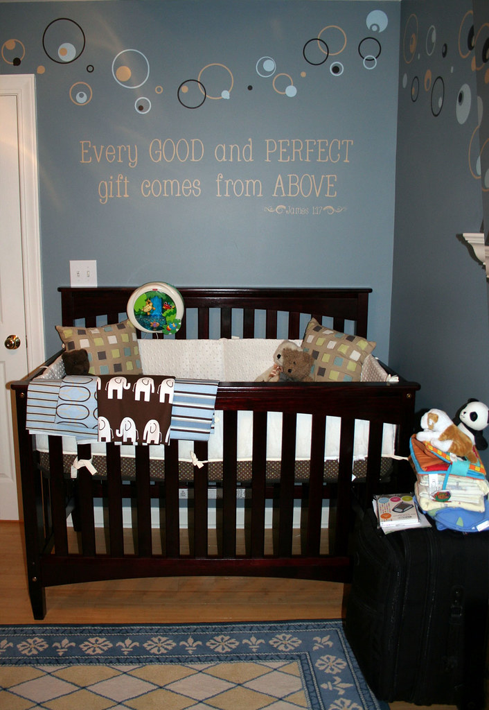 Nursery Crib and Word Art