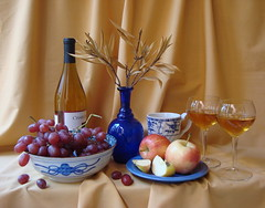 Hypnotic Hues of Blue - #2. (Esther Spektor - Thanks for 12+millions views..) Tags: china lighting blue autumn stilllife food apple cup glass leaves fruit bottle wine artistic crystal linen decorative creative plate bowl ornament bouquet dishes tablecloth 1001nights grape everydaylife coth selectbestfaforites