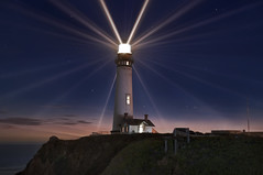 24 Points of Light (Matt Granz Photography) Tags: california longexposure lighthouse night photoshop stars twilight dusk halfmoonbay sanmateo pigeonpoint