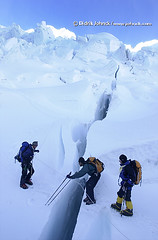 Blind Climber Crosses Crevasses (Deetrak) Tags: expedition vertical blind erik climber everest crevasse nfb mountaineer icefall leki serac jeffevans weihemayer