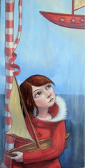 A Small Vessel (verpabunny) Tags: original red tree painting fur boats coat oil collar peppermint kellyvivanco