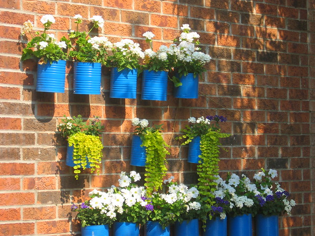 Blue painted cans act as a wall container, Toronto, Canada