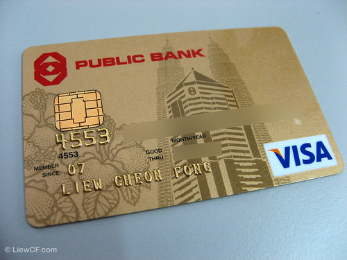 Gold VISA credit card close up