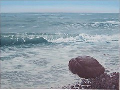 Stein in der Brandung (dirkgue) Tags: strand see meer himmel steine landschaft danmark nordsee ostsee acryl wellen malerei norddeutschland brandung leinwand gemälde realismus realistisch dirkgünther