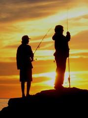 Fishing at Sunset - Pacific Ocean , California