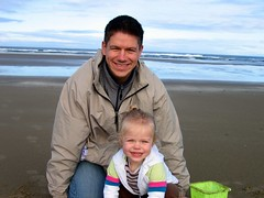 Margot and Daddy at the Beach