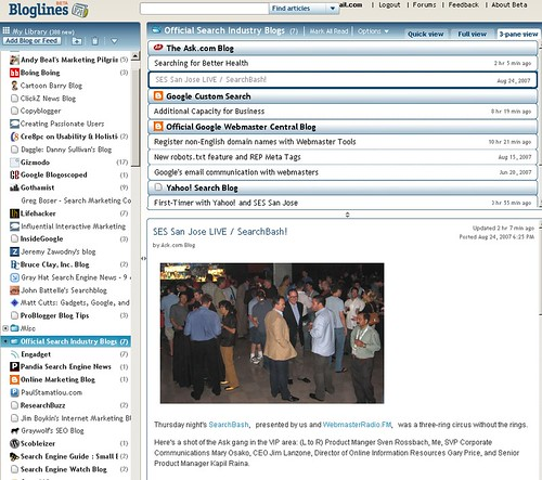 Bloglines: 3 pane view