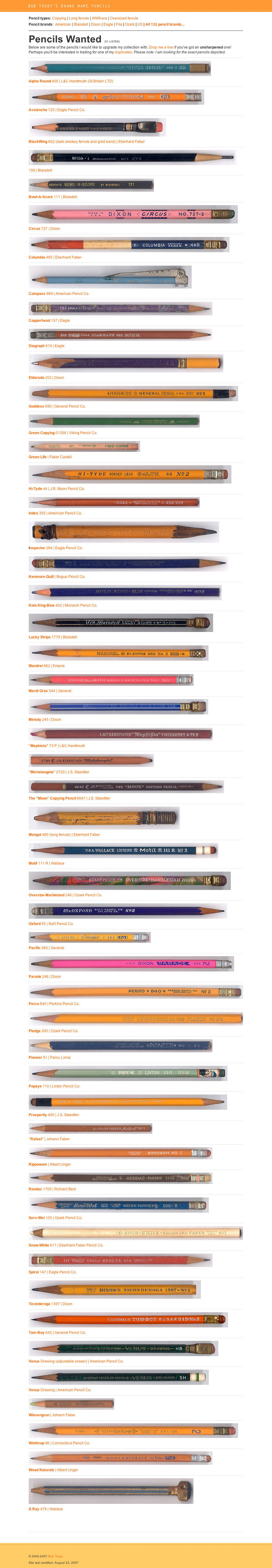 Bob Truby's Brand Name Pencils