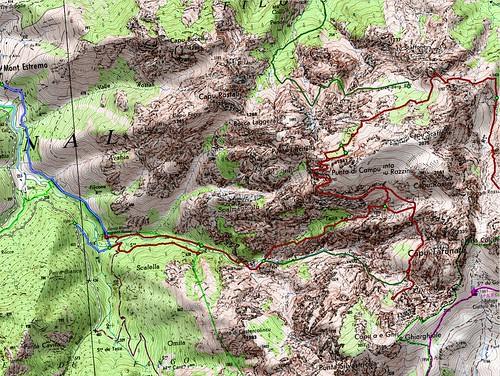 Carte des parcours des vires de l'Andatone et du Tafonatu en boucle depuis Monte Estremu par Tana di l'Orsu