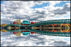 Edmunston, New/Nouveau-Brunswick, Canada (Guylaine Begin) Tags: park bridge autumn canada reflection tr