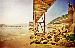 San Sebastian - The bridge (manlio_k) Tags: bridge sea color texture beach spain perspective sansebastian hdr