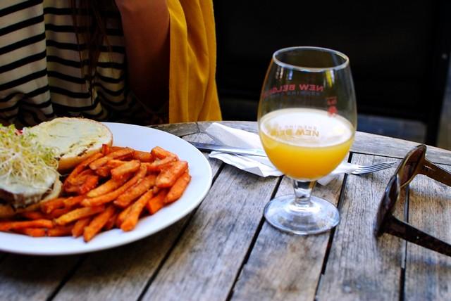 mimosa, sweet potato fries, and melissa's perfect nautical stripe/mustard combo
