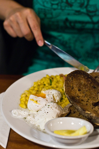 Creamed Corn and Poached Eggs with Bacon