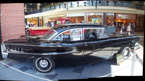 A slightly-distorted Autostitch panorama of the side of the 1958 Ford Edsel Ranger at Billings Bridge Plaza.