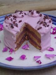 raw chocolate strawberry layer cake
