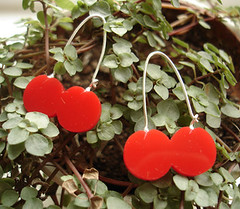 Cherry Earrings (karakola) Tags: red june silver yummy sweet jewellery 2007 karakola perspex oneleave cherryearrings