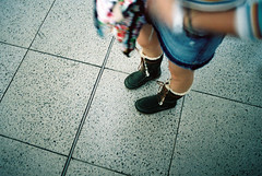 Winter Boots (edscoble) Tags: camera winter slr london film station train 35mm canon circle underground t eos sheep skin kodak district 28mm tube line 100 tungsten portra f28 leonie hs westminister wolly jubliee 1n 100t cicirello