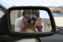 self portrait, again (davnull) Tags: vienna selfportrait abandoned broken car trash austria mirror