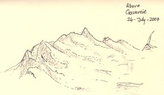 Sketch of Mountain peaks above Gavarnie