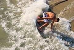 Skimboarder (ScottS101) Tags: california boy summer male beach wet water muscles youth surf huntington tan teen foam boardshorts athlete huntingtonbeach hb allrightsreserved skim skimboard skimboarder boardsports sandsun copyrightscottsansenbach2008