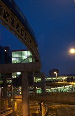 Sky Train (Tomitheos) Tags: travel blue moon toronto canada architecture night train gold flickr zoom engineering rail august daily monorail now skytrain today highspeed globalwarming 2007 stockphotography speedtrain dissymmetry  tomitheos shinningstar viplanet griffinpoetryprize poemspoetrylyrics photographwithapoem songstopics