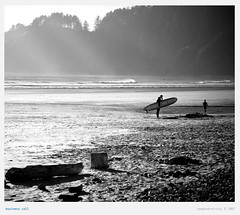 business call (NymphoBrainiac) Tags: light blackandwhite beach oregon portland surfer cell pacificnorthwest 5d canon5d rays pacnw shortsandsbeach 24105mm christeso bostonphotographer