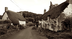 Down a country lane..... (Barry McGrath) Tags: uk england sepia canon eos countryside holidays britain united kingdom somerset devon lane exmoor cottages 30d supershot canoneos30d anawesomeshot aplusphoto superbmasterpiece barrymcg bazzymcg canonefs1785f456is devonenglandcountryside