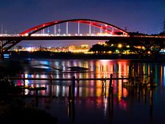 關渡橋夜色, Guandu bridge, Taipei (Sherwin_andante) Tags: geotagged taiwan olympus taipei 2007 guandu 關渡 e510 10faves flickrsbest 關渡橋 guandubridge 200709 geo:tool=yuancc 20070910 geo:lat=25129395 geo:lon=12145875