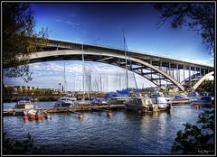 The bridge (Kaj Bjurman) Tags: bridge autumn water canon boats eos sweden hdr kaj 2007 cs3 photomatix 40d thegoldenmermaid bjurman