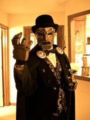 Ghost Costume Party: Steampunk Dr. Doom (Eric) (Futuregirl_LeahRiley) Tags: light party halloween up dead costume eric mask room awesome ghost creepy spooky gloves doctor cape ghosts cloak haunt steampunk halloweencostumes drdoom haunts clasps spectres ghostparty phantasms ghostcostumes deadcostumes eampunk steampunkdrdoom