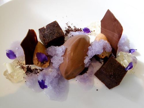Chocolate textures with spring violets