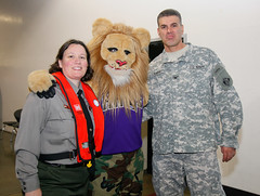 Posing with the Sacramento Kings basketball team mascot by USACEpublicaffairs
