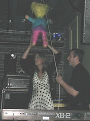Lauren and Robert putting up the pinata (sassylime) Tags: goth shutter horrors
