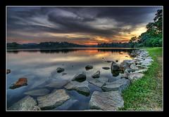 Colors Of Dusk (DanielKHC) Tags: hdr 7exp photomatix singapore lower peirce reservoir water rocks dusk sunset r