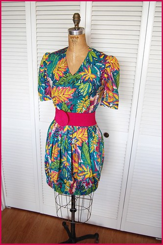 tropical 80s dress