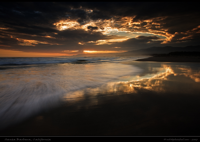 santabarbara seascape beach sunset sky cloud surf photofool