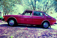 La Saab 99 d'Andy Warhol (Golfhunter) Tags: red car saab olivier