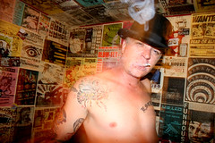 Funhouse 7217 (Farage Photography) Tags: seattle blue cloud brown man black green hat tattoo night digital james eyes nipple cigarette room smoke flash band tattoos bee posters greenroom norulesseattle
