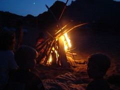 The bonfire at dusk