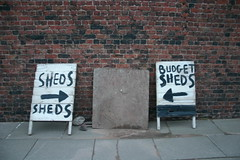 Budget sheds, Dock Road, Liverpool (new folder) Tags: sign liverpool typography arrow sheds rightarrow leftarrow budgetsheds liverpooltypography