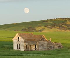Palouse Full Moon Rise (Ryan McGinty) Tags: summer house washington farm wheat fullmoon palouse ryanmcginty