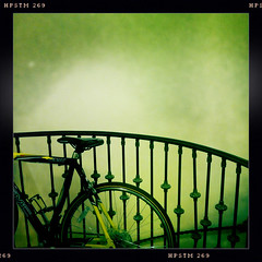 bike (dogfaceboy) Tags: bike bicycle lobby railing bsa iphone baltimoreschoolforthearts iphone4 hipstamatic